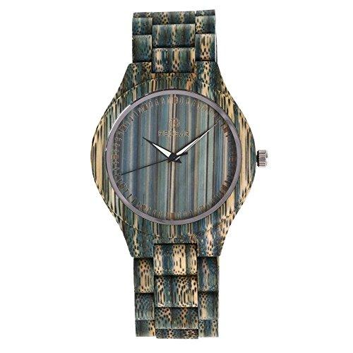 GLEMFOX paar kwartshorloge analoog Japanse kwartshorloge met gekleurde bamboe armband licht heren- en dameshorloge van hout Small