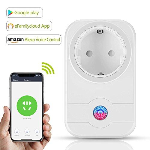 WLAN Smart Steckdose, Alexa Echo WiFi Schalter Timer Outlet Intelligente Fernbedienung Timing-Funktion mit Echo Dot & Google Home für Android und IOS Smartphone (Weiß)