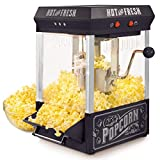 Nostalgia KPM220BK Vintage 2.5-Ounce Tabletop Kettle Popcorn Maker Makes 10 Cups, With Kernel Cup & Oil Measuring Spoon, Perfect for Birthday Parties, Movie Nights-Black