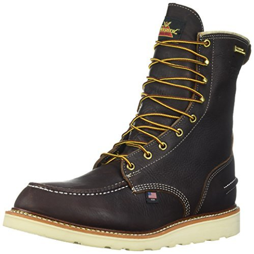 "Thorogood 814-3800 Men's 8"" Moc Toe, MAXwear Wedge Waterproof Non-Safety Toe, Briar Pitstop - 11.5 D US"