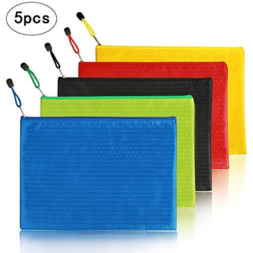 ジッパー式ファイル袋 MEZOOM 5個セット(5色) ファイルバッグ ファイル袋 收納袋 クリアホルダー ファイルホルダー ファイルケース A4 オフィス用品 オックスフォード布製 ファスナー式 ファイル アクセサリー 化粧品の保管 撥水 (ジッパー式フ