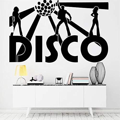 Blrpbc Adhesivos Pared Pegatinas de Pared Disco Music Night Club Dance Party Retro Vinilo Decoración del hogar para Sala de Estar Músico Aula 84x52cm