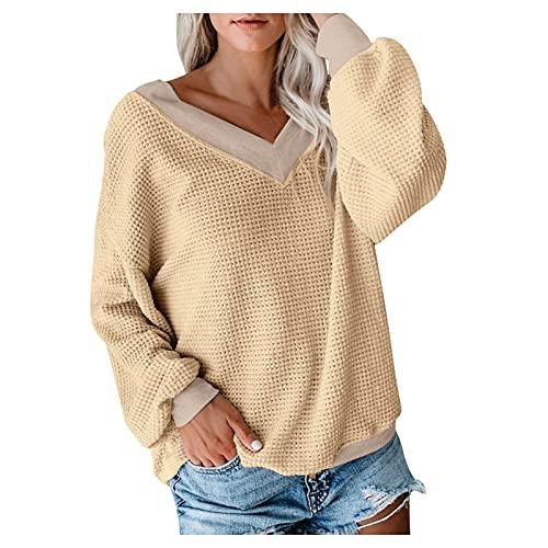 Amaeen Suéter de Moda para Mujer Tops de Punto Hombro Caído de Mangas Largas Sudaderas Sueltas Blusa Tops Ropa de Mujer Causal