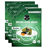 Wrawp Organic Veggie Wraps -Mini Raw Vegan Spirulina Flat Bread (3 pack) Perfect for Wraps, Sandwiches, Crackers, Side Bread or a Simple Snack