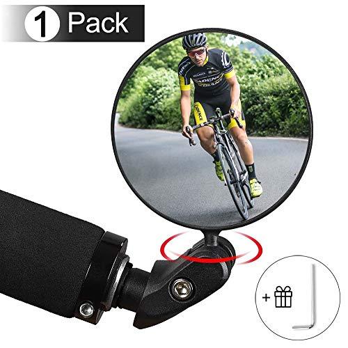 1 Stück Fahrradspiegel Rückspiegel, 360°Drehbar Lenkerspiegel Weitwinkelobjektiv, Sicherer Rückspiegel für 17.4-22mm, Robust und Langlebig, Fahrradlenker End Spiegel für Ebike Rennräder Mountainbikes