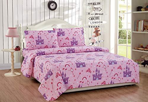 Fancy Linen 4pc Full Sheet Set Princess Castle Palace Pink Lavender White New