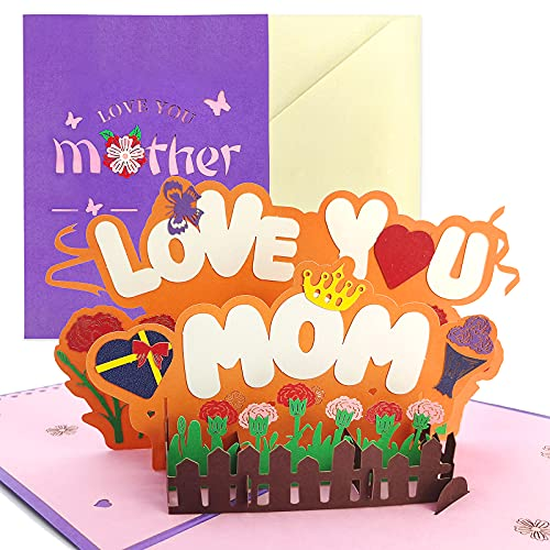 """Mom 3D Pop up Greeting Card for Mom, Mother Birthday Card for Mom from Daughter,Happy Birthday Mom Card,Mom Birthday Card from Daughter,Mother's Card Mom 8""""x6"""""""