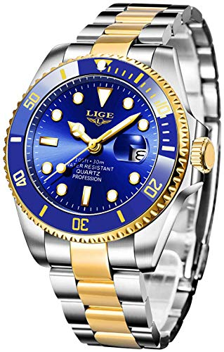 LIGE Uhren Herren Edelstahl Sport wasserdichte Analoge Quarz Chronographen Uhren Business Fashion Kalender Herren Armbanduhr …