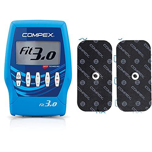 Compex Fit 3.0 Elettrostimolatore, Blu & Performance Elettrodo a Snap, 1 Uscita, 5x10, 2 Pezzi