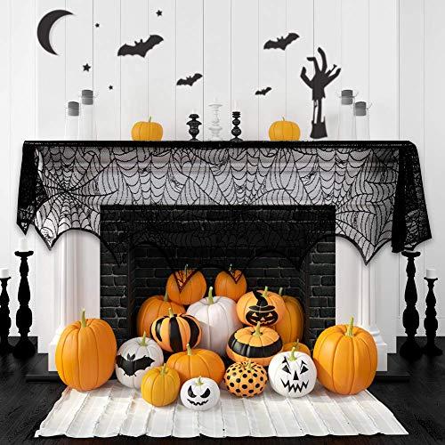 WeyTy Spitze Decke Halloweendekoration, Spitze Schnüren Sie Sich schwarzes Vorhangspinnennetz-Ofentuch Kamin Dekorative Tuch Festliche Party Supplies (244cm X 45cm)
