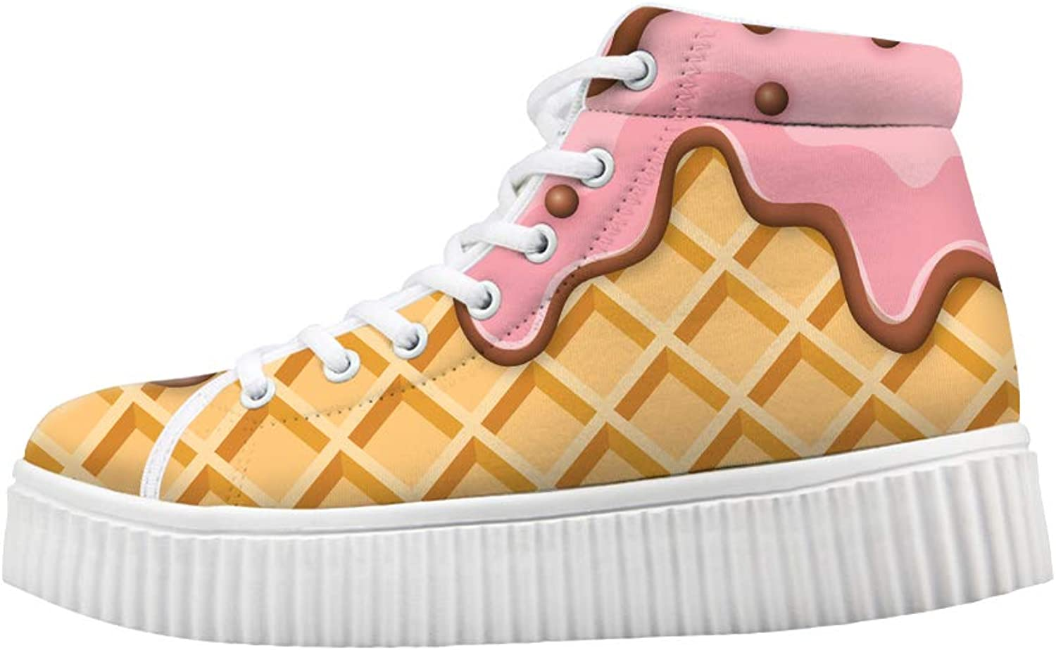 Owaheson Platform Lace up Sneaker Casual Chunky Walking shoes High Top Women Melting Strawberry Ice Cream Waffle Plaid Pattern