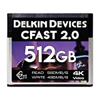 Delkin Devices 512GB Cinema CFast 2.0 Memory Card, 560MB/s Read 495MB/s Write