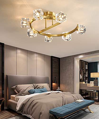 Lámpara De Techo de K9 Cristal Lujosa Candelabro para Salón Dormitorio Metal Plafon de Techo Creatividad Cuadrado Pantalla Vidrio Cristal Lámpara Colgante L62*W50*H20CM