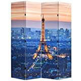 FAMIROSA Biombo Divisor Plegable 160x170 cm París de Noche Multicolor