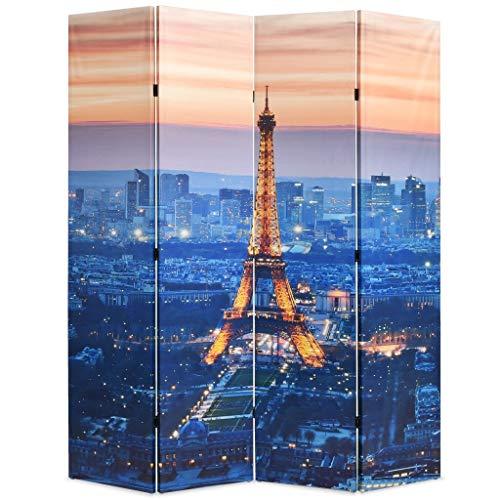 UnfadeMemory Raumteiler klappbar Paravent Sichtschutz Leinwand Raumtrenner Holzrahmen + Leinwand-Bespannung Dekorative Trennwand Wohnzimmer/Schlafzimmer (160 x 170 cm, Paris bei Nacht)
