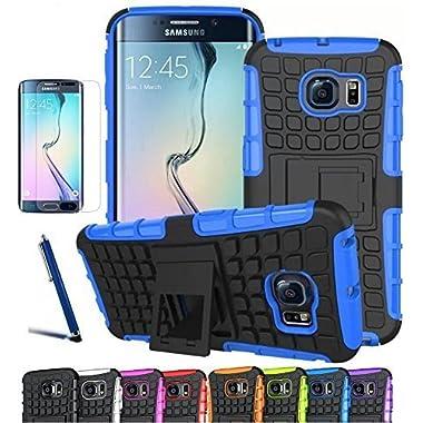 Galaxy S6 edge Case, CINEYO(TM) heavy Duty Rugged Dual Layer Case with kickstand (Samsung Galaxy S6 edge case Black) (Black)
