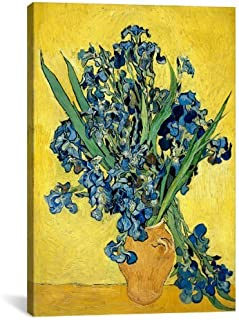 14356 Florero con los iris contra un fondo amarillo Lienzo Lámina por Vincent van Gogh,