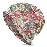 Viplili Stamps Slouchy Beanie Cap for Men Women - Stretchy Hip-hop Casquette de Crâne Bonnet Baggy Bonnet en Tricot Hip-Hop Winter Hat