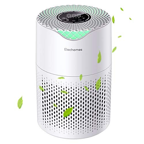 Elechomes Air Purifier with H13 True HEPA Filter, 3 Speeds, Auto Mode, Sleep Mode, Night Light, Filter Change Reminder, CADR 190m³/h for Dust, Smokers, Pollen, Pet Dander, P1800