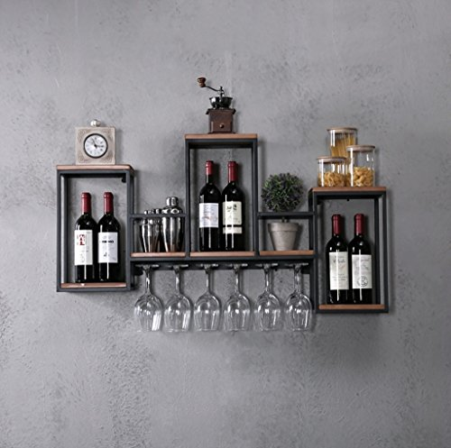 TJ Estante del Vino Moderno Minimalista Creativo Pared Wine Rack Racks Gabinete de Vino montado en la Pared de Hierro Forjado Decorativo Retro Wooden Candle Holder Portavasos