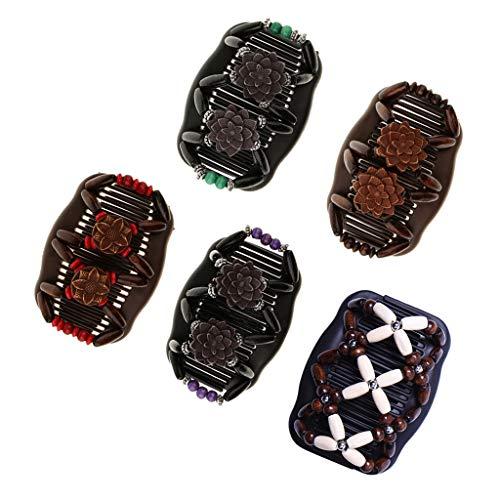 Baoblaze 5pcs Pince à Cheveux Vintage Perles élastique Femme Coiffure Double Face Magic Peigne Headwear Décor