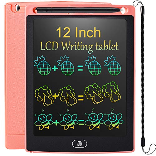 LCD Writing Tablet 12 Inch Colorful Drawing Tablet for Kids, Electronic Writing Drawing Pads Portable Doodle Board Gifts for Kids Office Memo Home Whiteboard (CutePink)