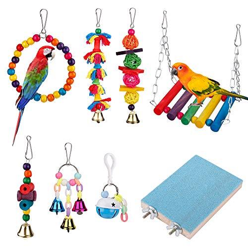 MengH-SHOP Vogel Spielzeug 8 Stück Vogel Papagei Spielzeug Kauspielzeug Schaukel aus Naturholz Sitzstangen Glocke Vogelkäfig-Spielzeuge