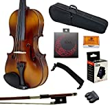 Paititi 3/4 Size Solid Wood Student Violin Complete Package W Case Bow Rosin String Mute Tuner Complete Package