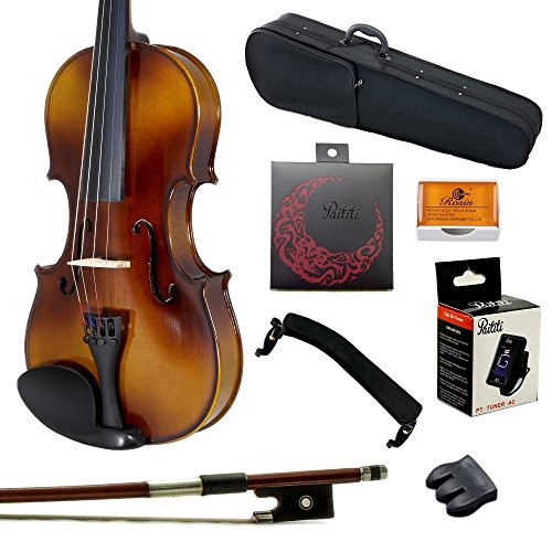 Paititi 4/4 Full Size Solid Wood Student Violin Complete Package w Case Bow Rosin String Mute Tuner Complete Package