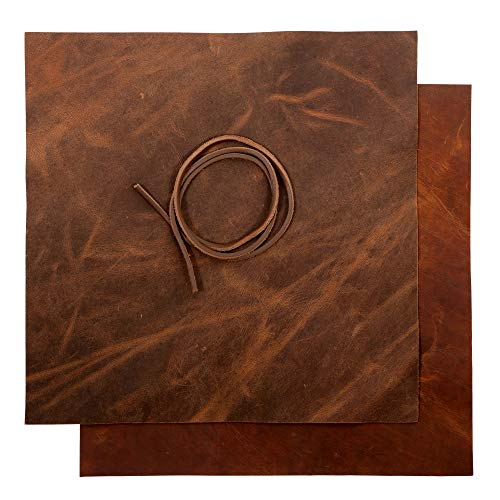 Real Leather Fabric Leather Sheets for Leather Earrings, Leather Wallet & Crafts – Genuine Full Grain Buffalo Leather, Not Faux Leather Sheets – Dark & Russet Brown (2 Sheets + Leather Cord)