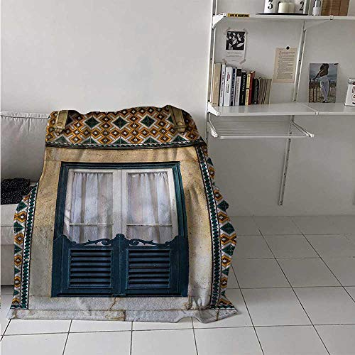 Throw Blanket Shutters Air Conditioner Blanket Window of Old Architecture in Lisbon Portugal Touristic Town Cultural Nostalgic Best Gift for Women, Men, Kid, Teen Teal Orange 60x80 Inch