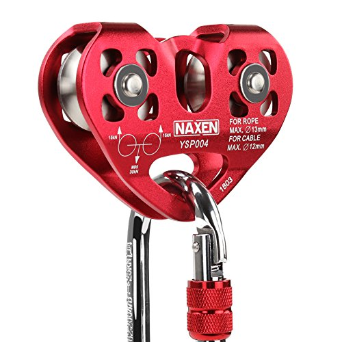 NAXEN Zip Line Pulley Tandem Speed Dual Trolley with Oval Carabiner