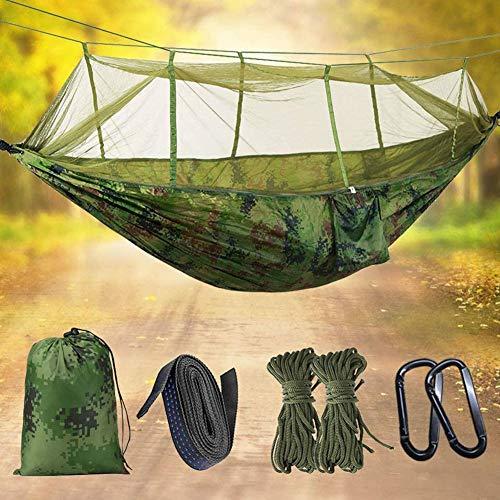 Draagbare dubbele camping hangmat lichtgewicht nylon outdoor reishangmat met klamboe parachute camping hangmat tent voor binnenshuis tuin kamperen buiten backpacken