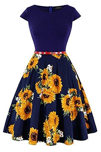 MisShow Damen 50s Rockabilly Kleid Festliches Kleid Partykleider Cocktailkleider Sonnenblume Navyblau S