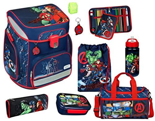 Avengers Schulranzen Set 9 teilig - Scooli Easy Fit mit Schüleretui, Schlamper, Turnbeutel, Sporttasche, Brotdose, Trinkflasche, Schlüsselanhänger, Regenschutz