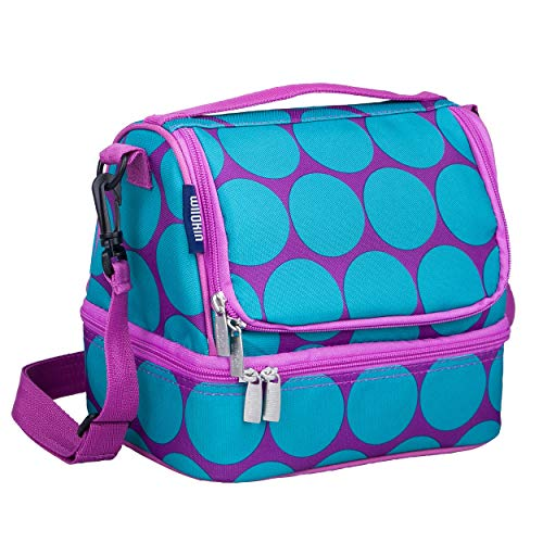 Wildkin Kids Two Compartment Insulated Lunch Bag for Boys and Girls, Perfect Size for Packing Hot or Cold Snacks for School and Travel, Lunch Bags Measures 9 x 8 x 6 Inches, BPA-free (Big Dot Aqua)