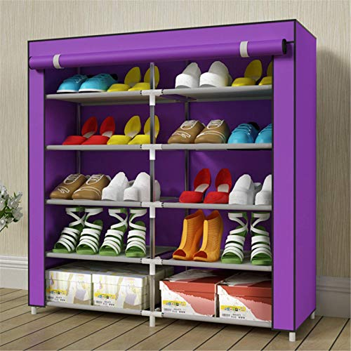 Shoe rack Organizador de almacenamiento de zapatos, 20 pares de doble fila portátil con cubierta de tela no tejida Cubierta de zapatos para armario ajustable (color: púrpura, tamaño: 90x30x90cm) Shoeb