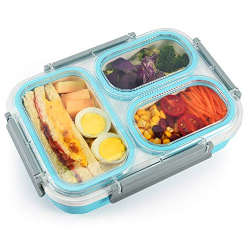 Bento Lunch Box for Adults and Kids by Lupantte, BPA free Leakproof Meal Container w/ 3 Compartments, Durable, Microwave Safe Snack Box for School, office etc.