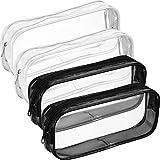4 Piezas de Bolsa de Lápices con Cremallera de PVC Transparente, Bolsa de Bolígrafos de Capacidad Grande Bolsa de Maquillaje (Negro y Blanco)