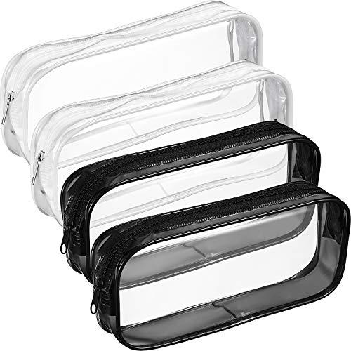 Tatuo 4 Pieces Clear PVC Zipper Pen Pencil Case, Big Capacity Pencil Bag Makeup Pouch (Black and White)