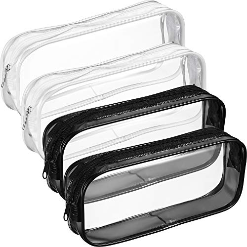 Tatuo 4 Pieces Clear PVC Zipper Pen Pencil Case, Big Capacity Pencil Bag Makeup Pouch (Black and White)
