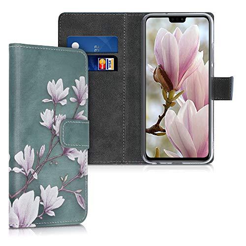 kwmobile Wallet Hülle kompatibel mit Honor 9X Lite - Hülle mit Ständer Kartenfächer Magnolien Taupe Weiß Blaugrau