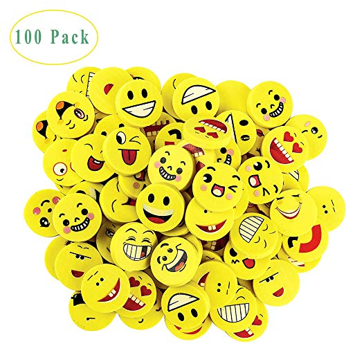 Emoji-Radierer, 100 Stück Emoji Smiley Radiergummis, Smiley Radiergummi Set, Bunte Lustige Radierer, Smiley Spielzeug für Kindergeburtstag, Partyartikel & Geburtstags-Mitbringsel (Zufälliger Stil)