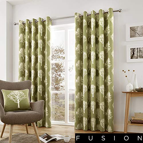 Fusion - Woodland Trees - 100% Cotton Pair of Eyelet Curtains - 90' Width x 90' Drop (229 x 229cm) in Green