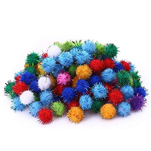 Carykon 1.5' Sparkle Balls My Cat's Favorite Toy Pom Pom Balls - 50 Pack