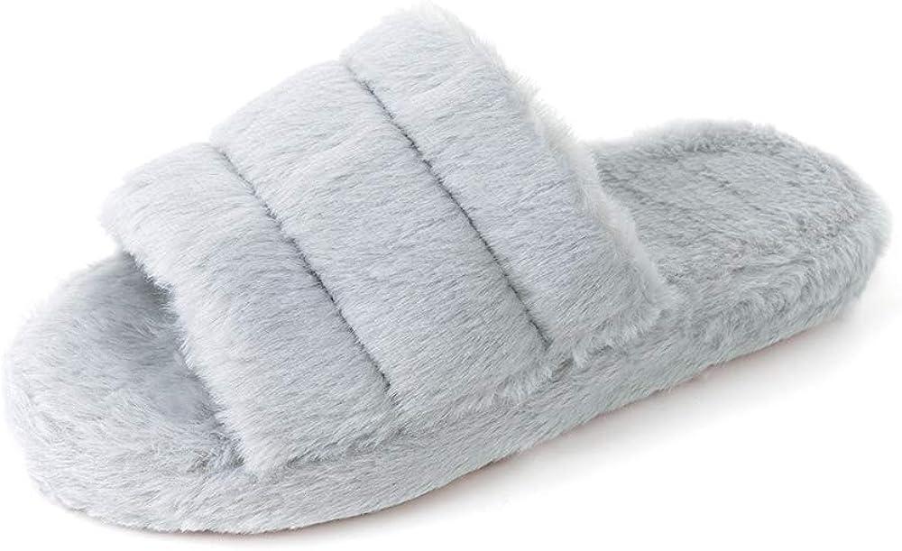 FUNKYMONKEY Women's Faux Fur Slippers Open Toe Comfy House Slides