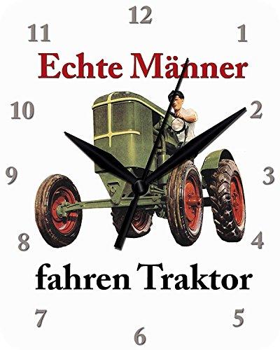 Blechwaren Fabrik Braunschweig GmbH Wanduhr Echte Männer Fahren Traktor Uhr Clock WC 94