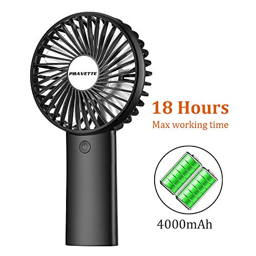 Personal Fan, PRAVETTE Portable Mini Handheld Fan with 4000mAH Rechargeable Batteries, 8-18 Hours Working Time, 3 Speed Adjustable Settings for Office Home Outdoor and Travel (Black)