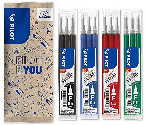 Pilot - Juego de 4 fundas de 3 recambios FriXion para bolígrafo borrable compatibles con FriXion Point y FriXion Point Clicker – Azul Negro Rojo Verde –...