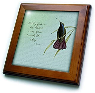 3dRose ft_130624_1 Hummingbird Vintage with Rumi Quote Inspirational Art Framed Tile, 8 by 8-Inch